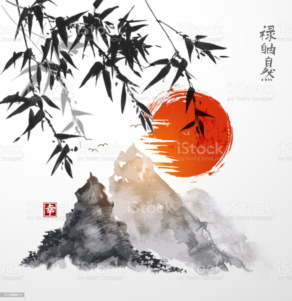 Bamboo trees and mountains vector art illustration