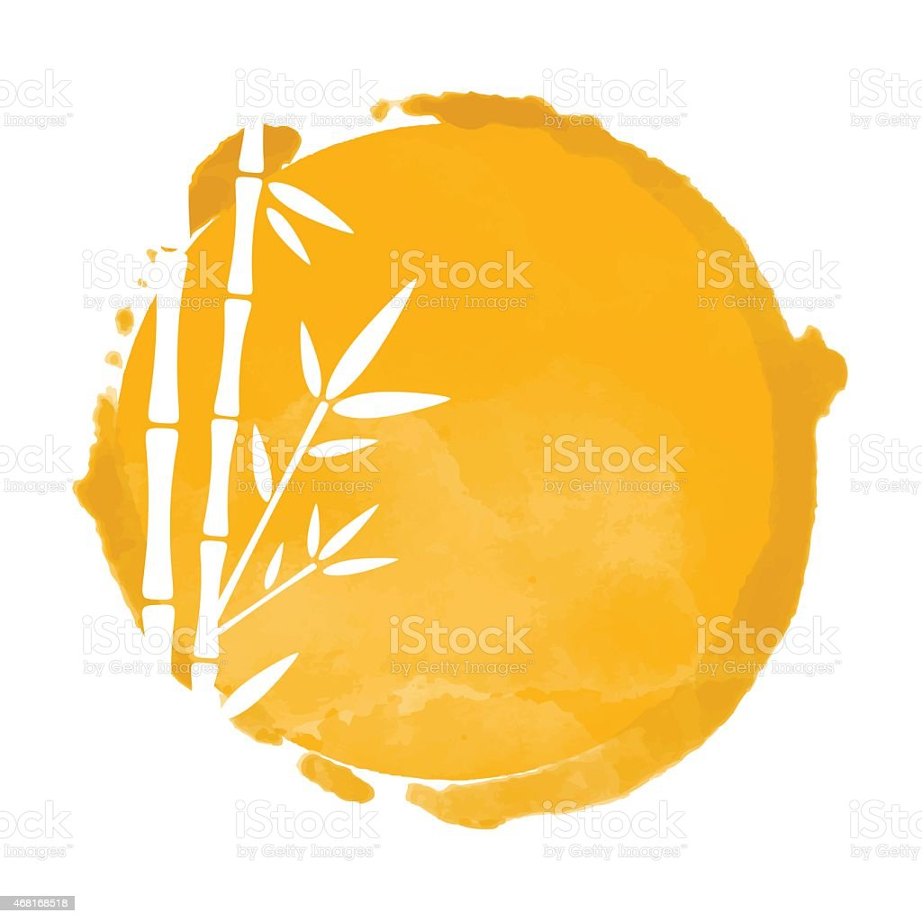 Bamboo trees white silhouettes and watercolor vector art illustration