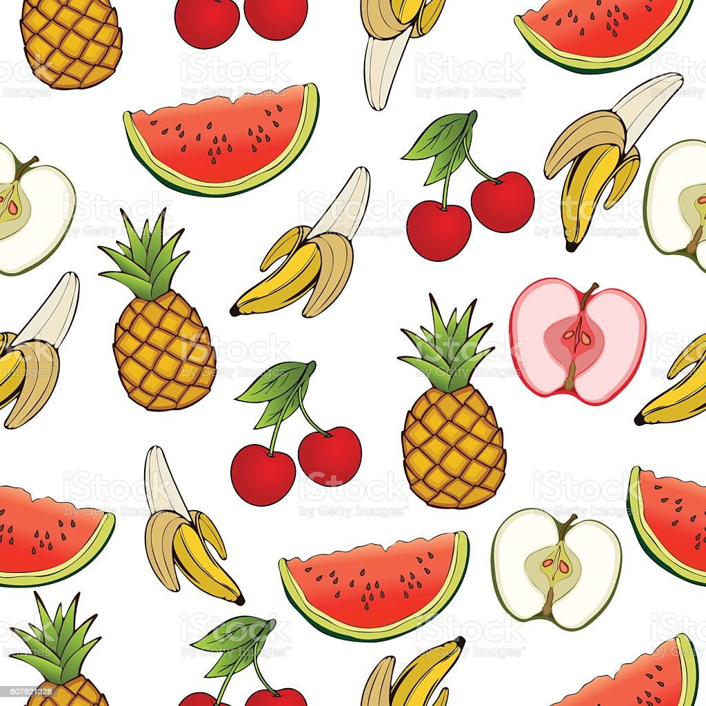 Banana, apple, pineapple, cherry, watermelon, seamless pattern, fruit background vector art illustration