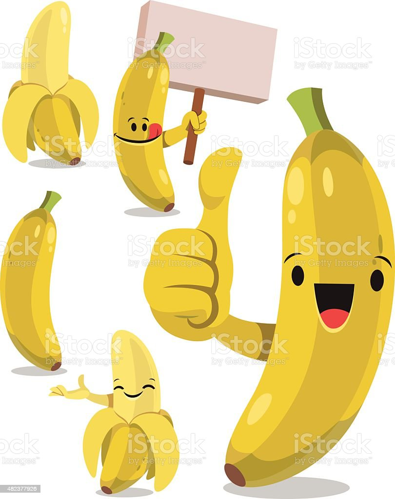 Banana Cartoon Set C vector art illustration