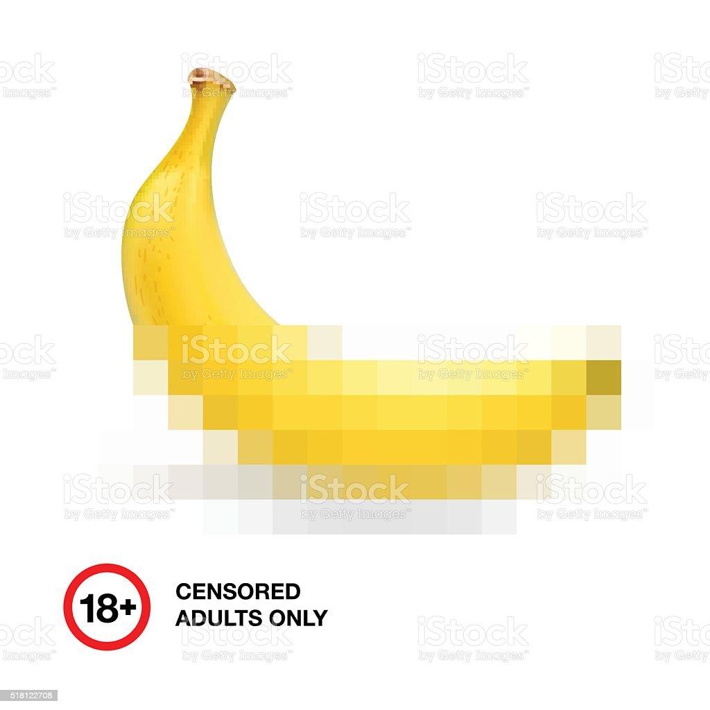 Banana closed by censorship, symbol adult only 18 vector art illustration