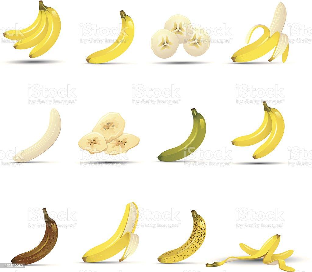 Banana Icons vector art illustration