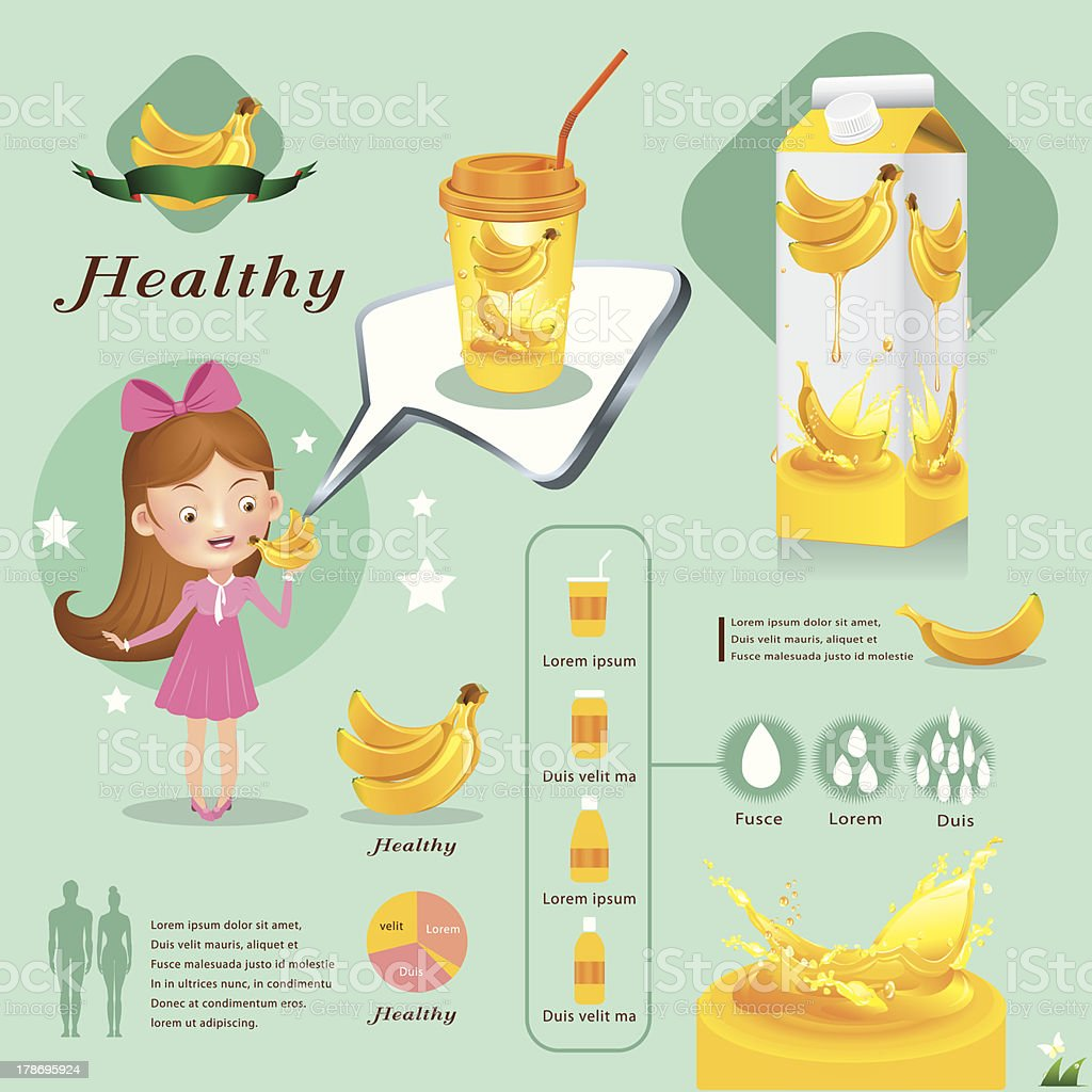 Banana juice infographics vector illustration royalty-free stock vector art