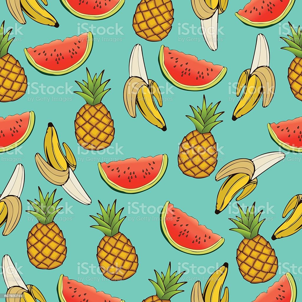 Banana, pineapple, and watermelon slices seamless pattern, fruit background. Drawing vector art illustration