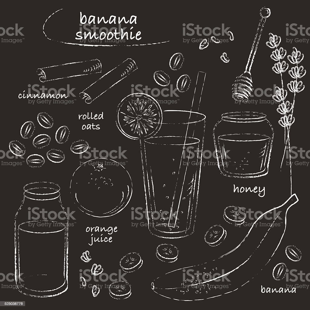 Banana smoothie glass and ingredients recipe chalk line sketch vector art illustration