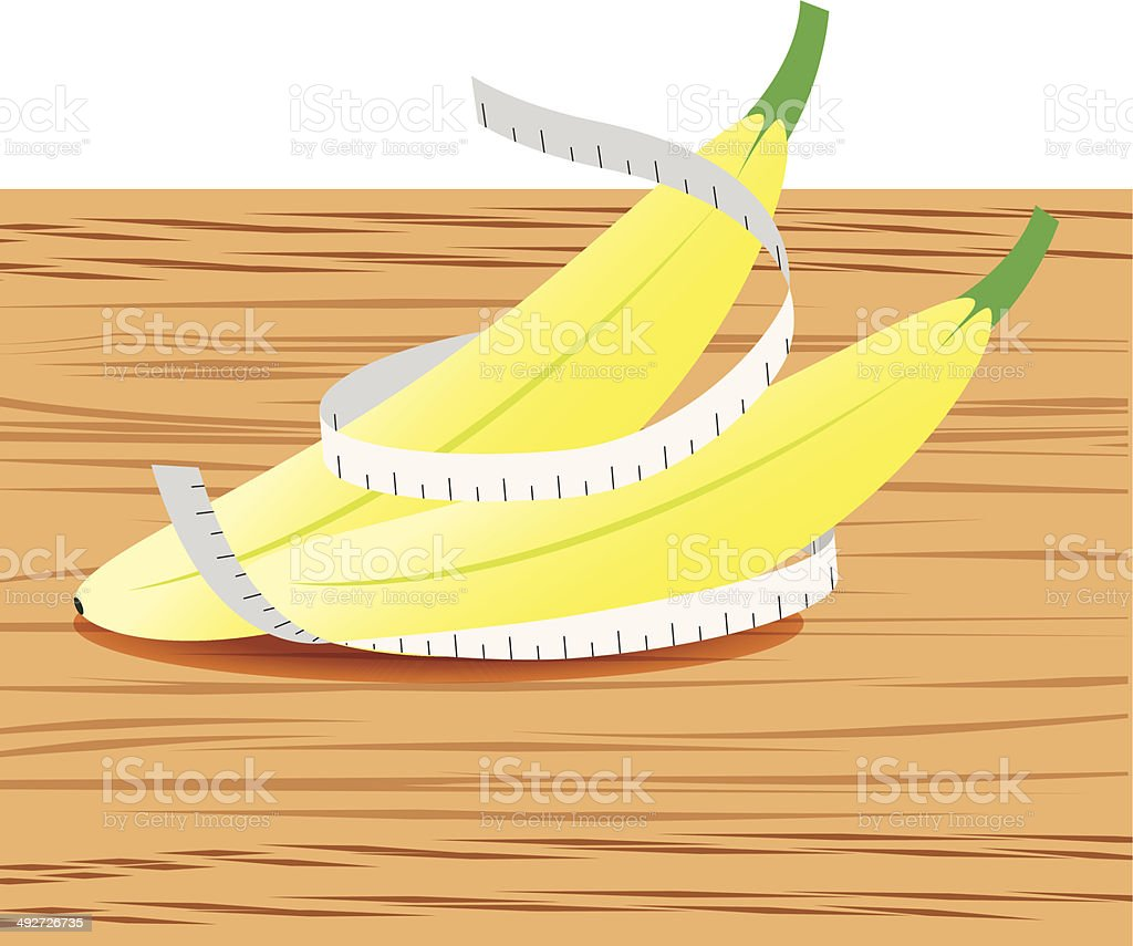 Banana with measure tape and table wood royalty-free stock vector art