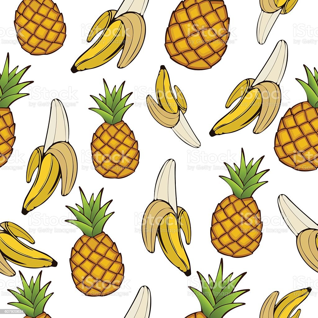 Bananas and pineapples, seamless pattern, fruit background. Drawing  on a vector art illustration