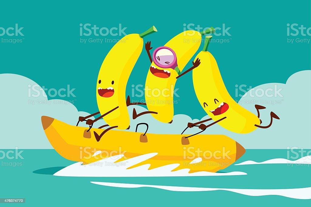 bananas on banana boat vector art illustration