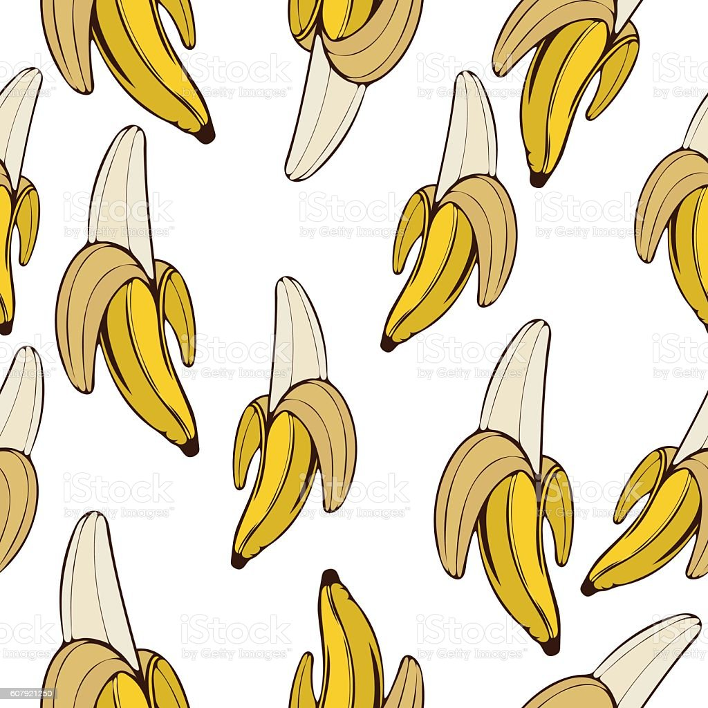 Bananas seamless pattern, fruit background. Drawing  on a white , cartoon vector art illustration