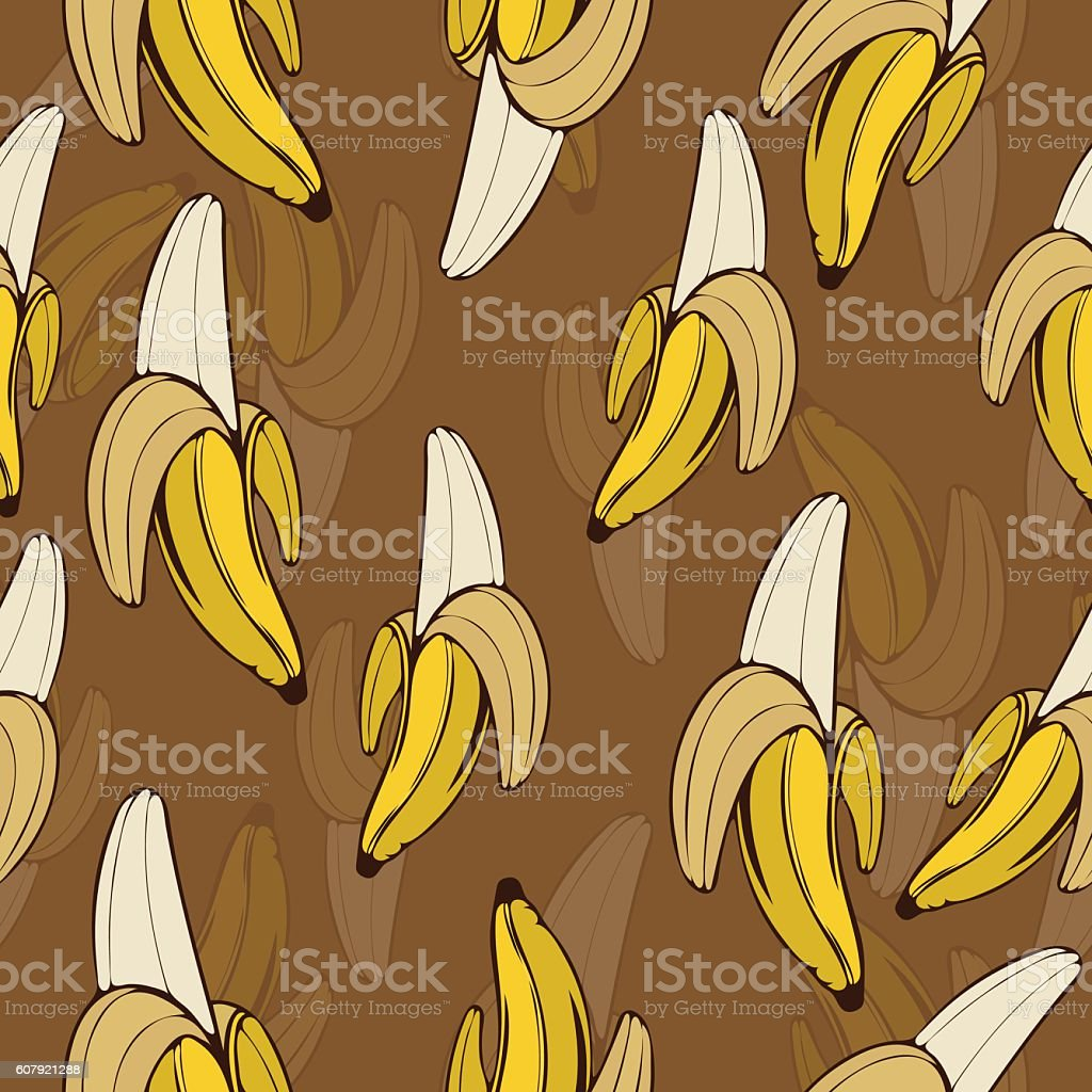 Bananas seamless pattern, fruit background vector art illustration