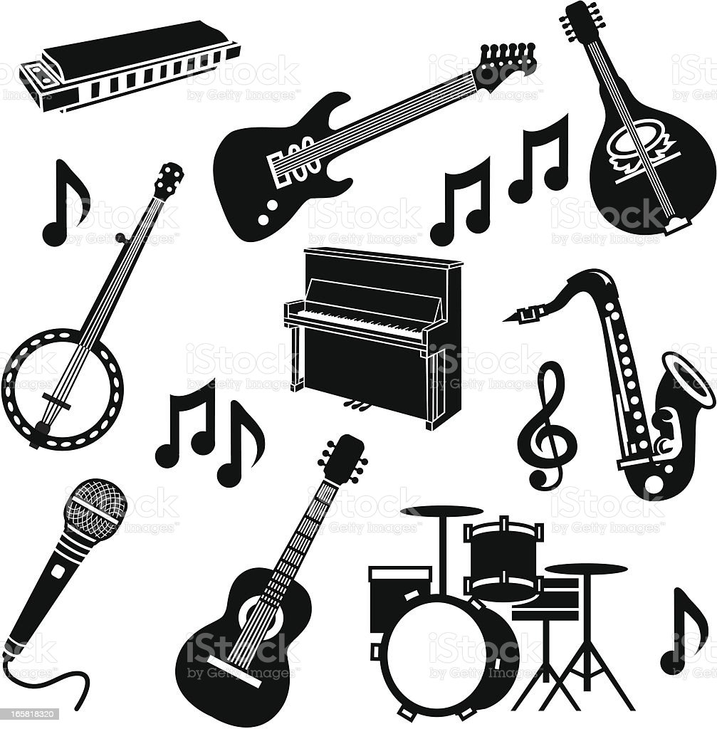 band instruments vector art illustration