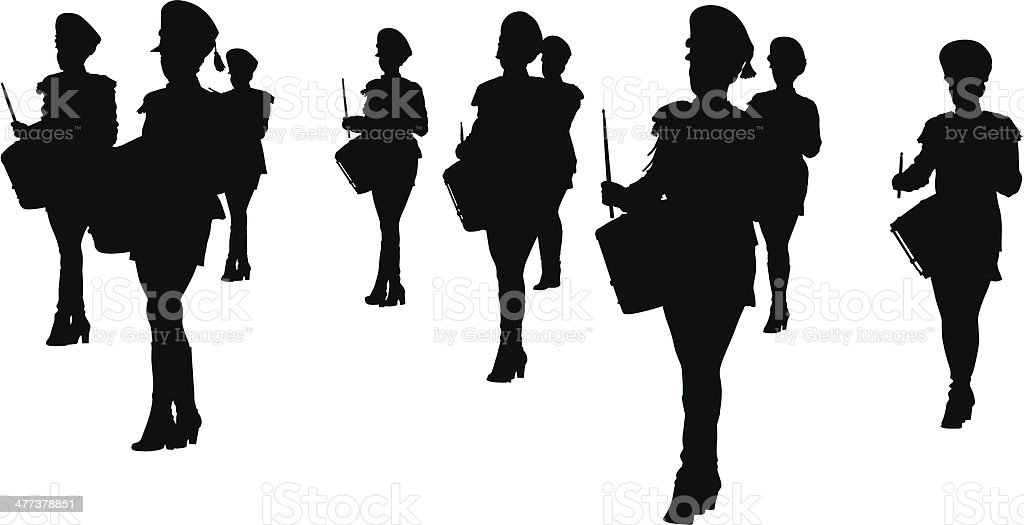 Band of drums girls royalty-free stock vector art