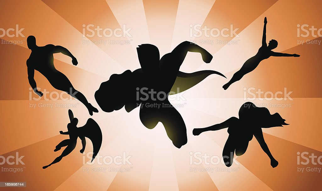 Band of Flying Superheroes Silhouette royalty-free stock vector art