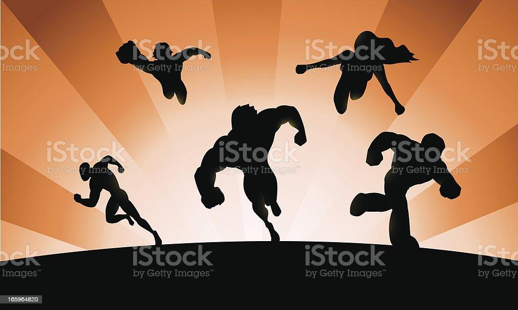 Band of Superheroes royalty-free stock vector art