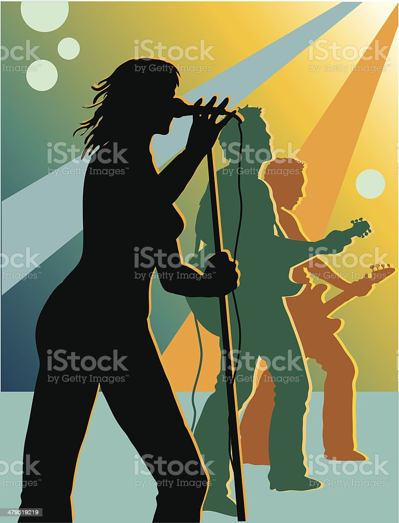 Band on stage vector art illustration