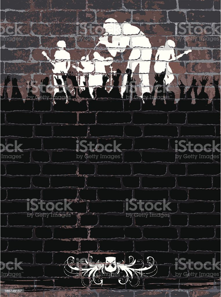 Band on Wall vector art illustration