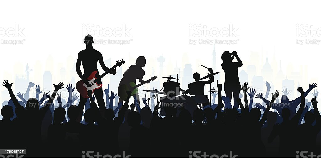 Band (Each Person is Complete, Clipping Path Hides the Legs) royalty-free stock vector art