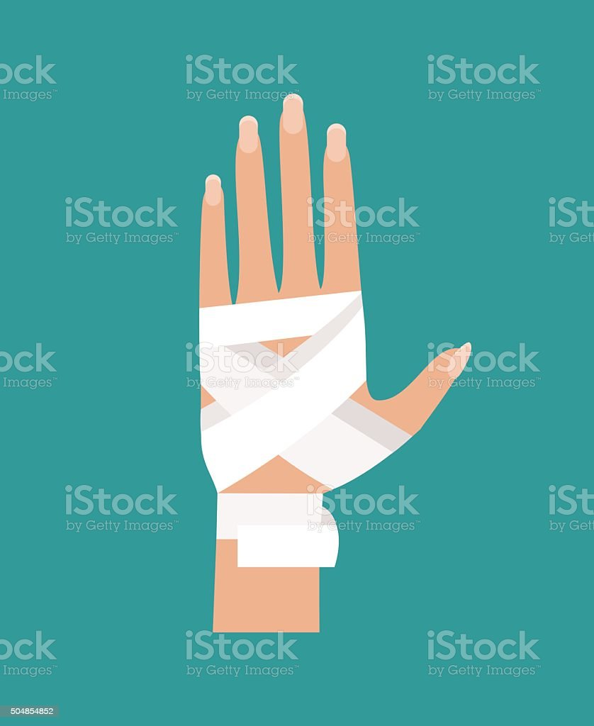 Bandaged hand. Vector Illustration vector art illustration