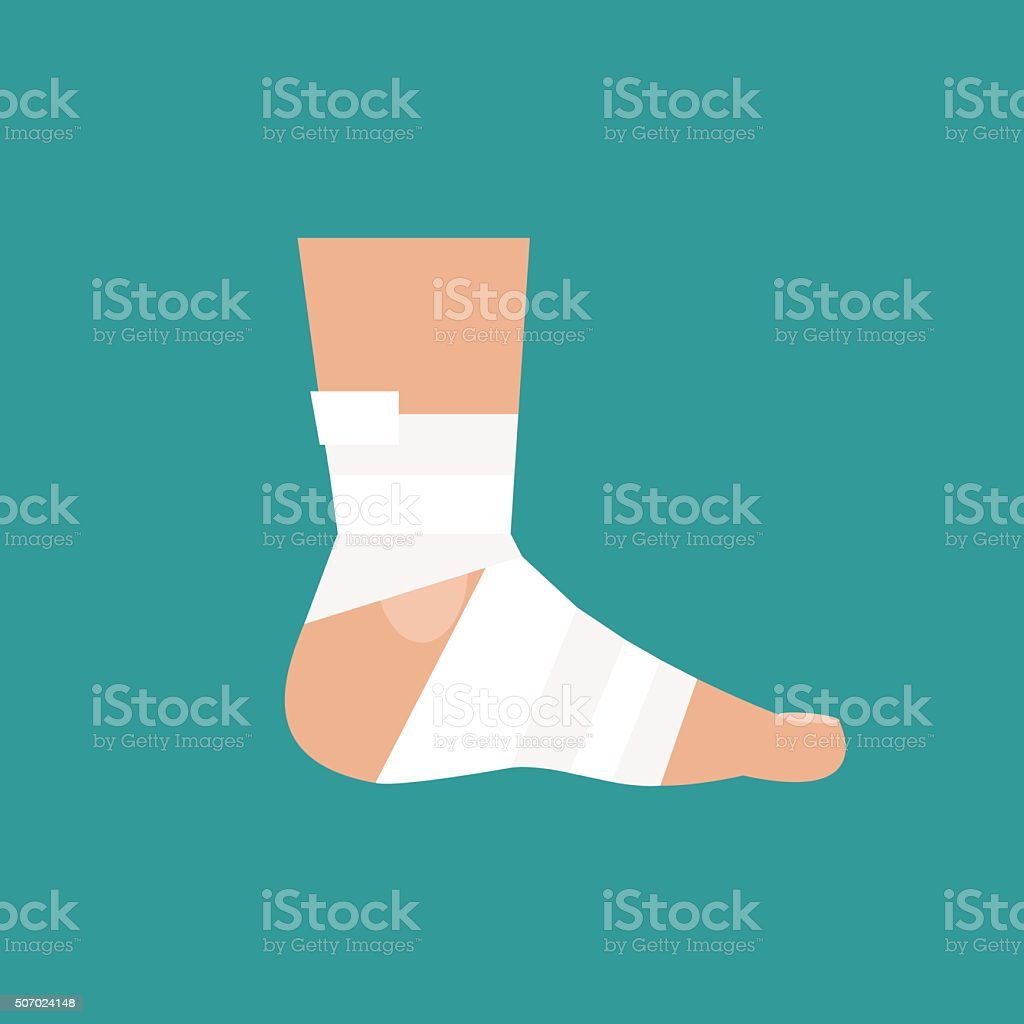 Bandaged leg. Vector Illustration vector art illustration