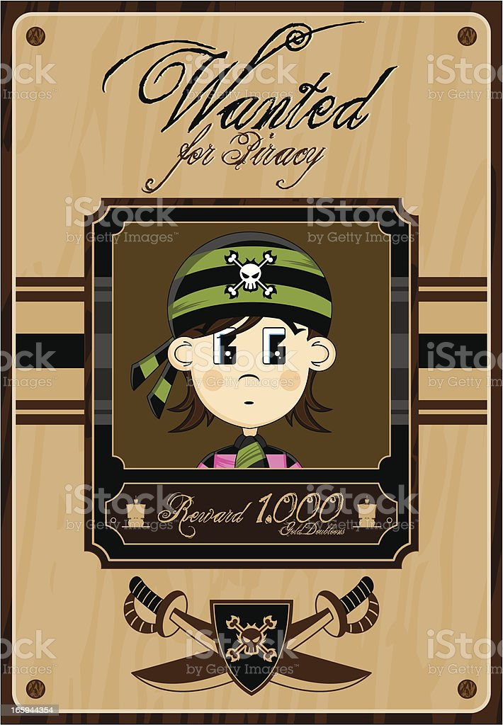 Bandana Pirate Wanted Poster royalty-free stock vector art