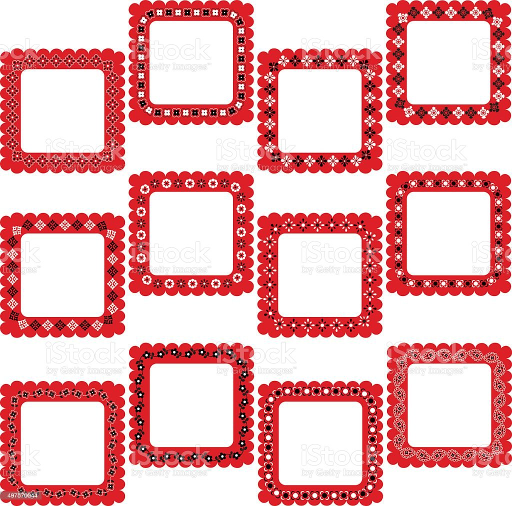 bandana square frames vector art illustration