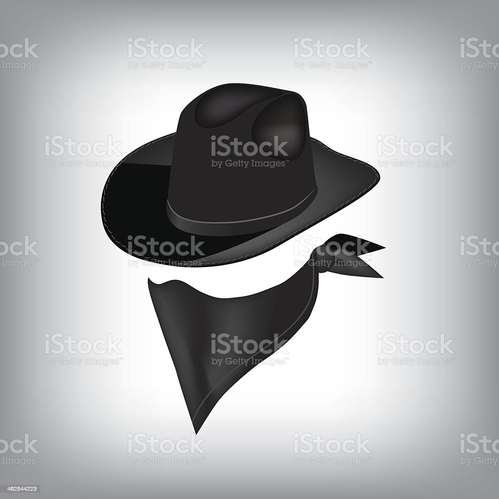Bandit hat and bandana. vector art illustration