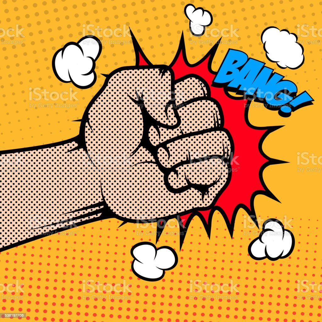 Bang. Human fist in pop art style. Design element vector art illustration