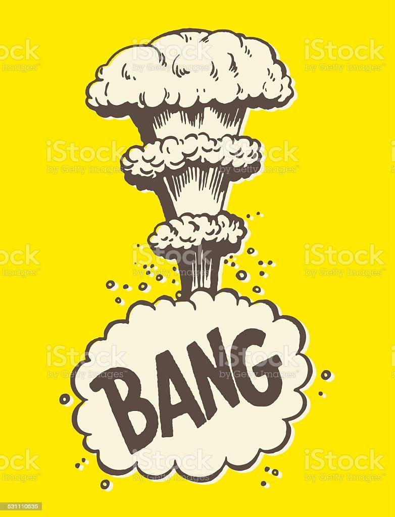 Bang Mushroom Cloud vector art illustration