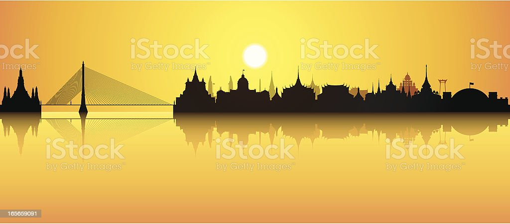 Bangkok (All Buildings Are Detailed, Complete and Moveable) royalty-free stock vector art