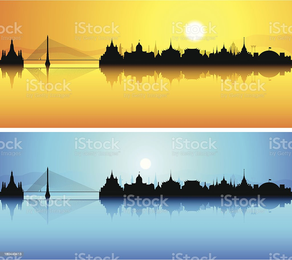 Bangkok (Each Building is Moveable and Complete) royalty-free stock vector art