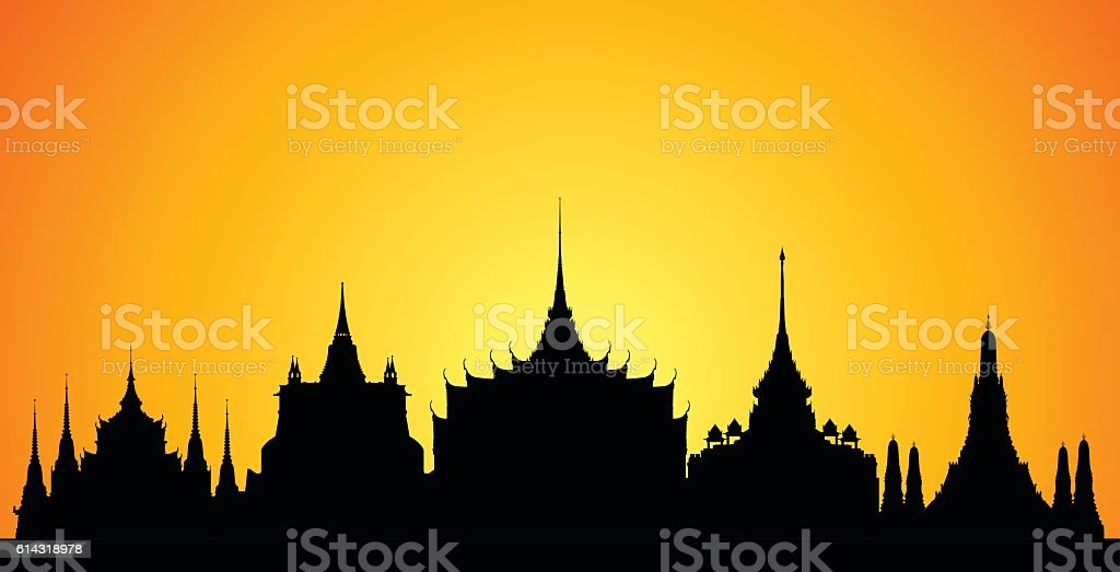 Bangkok (Buildings are Complete, Moveable and Detailed) vector art illustration