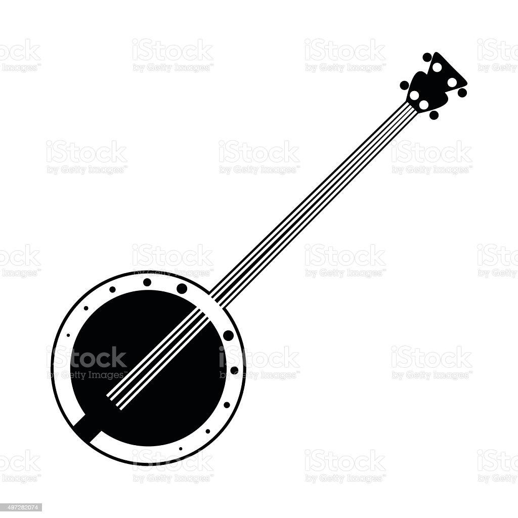 Banjo black icon vector art illustration