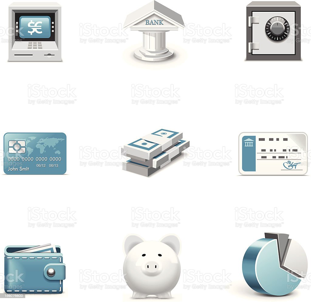 Bank and finance icons. Azzurro series royalty-free stock vector art