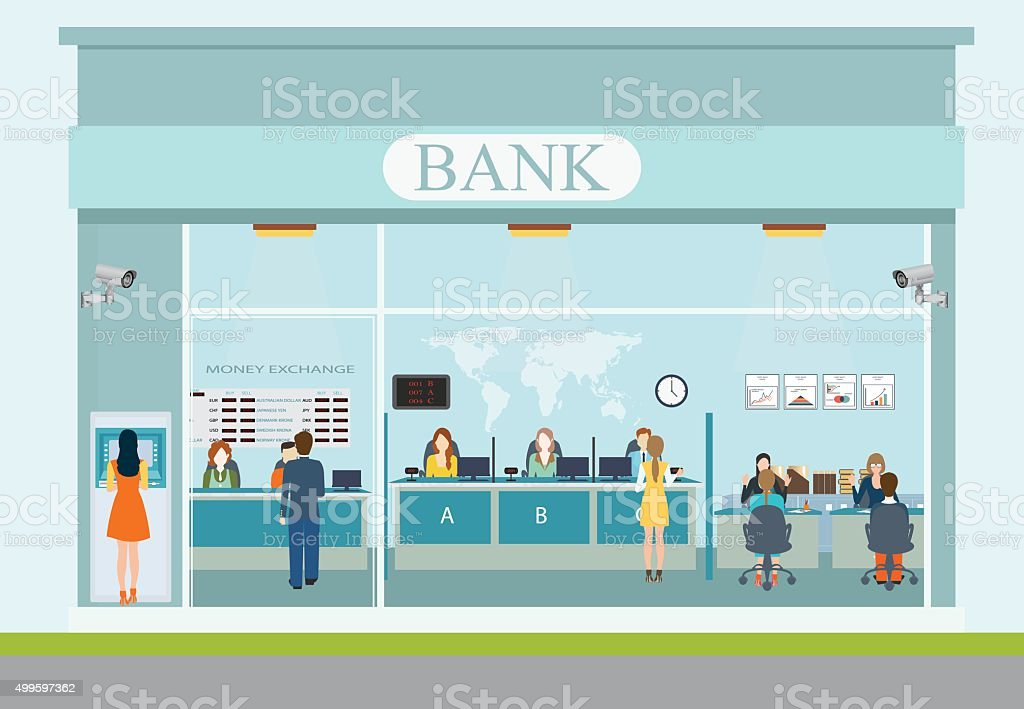 Bank building exterior and  bank interior. vector art illustration