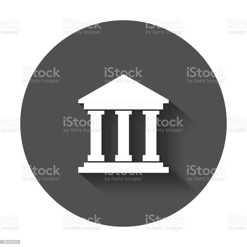 Bank building icon in flat style. vector art illustration