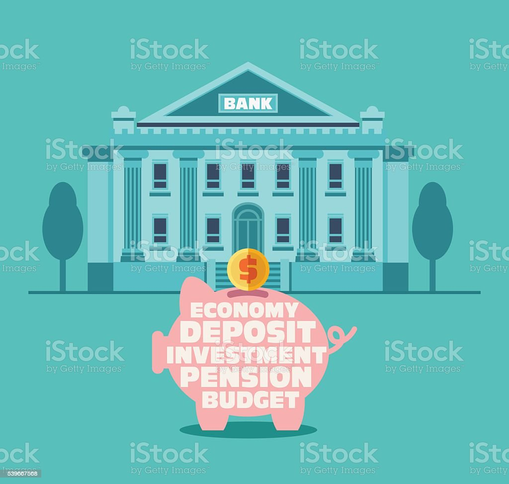 Bank building in city street and piggy bank vector art illustration