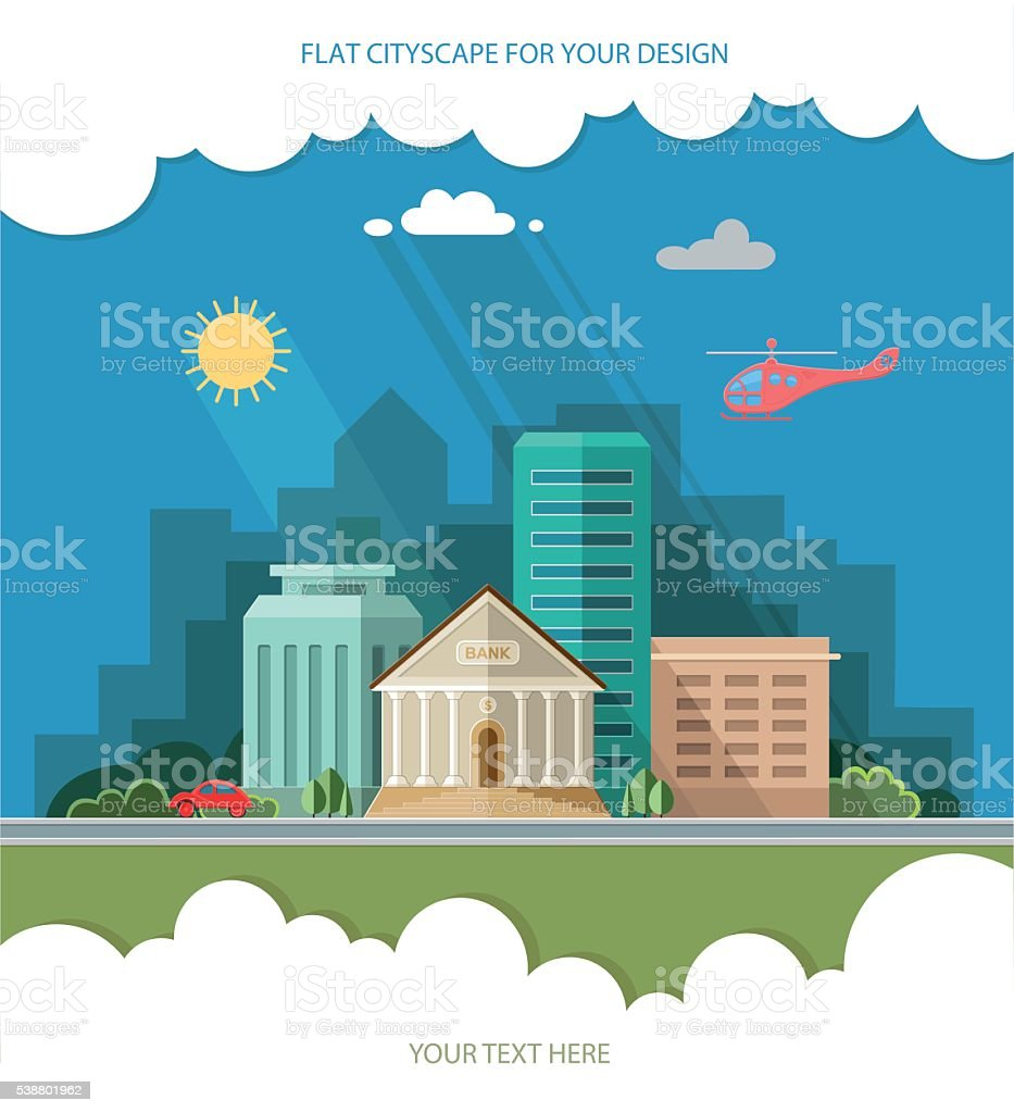 Bank building on the background of the city. Flat style vector art illustration