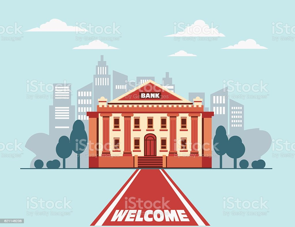 Bank building with a red carpet in city street vector art illustration