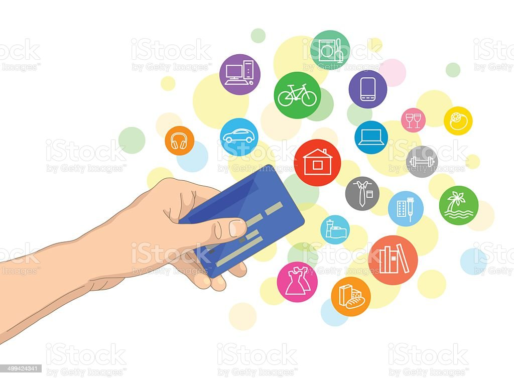 Bank card and possible purchases vector art illustration