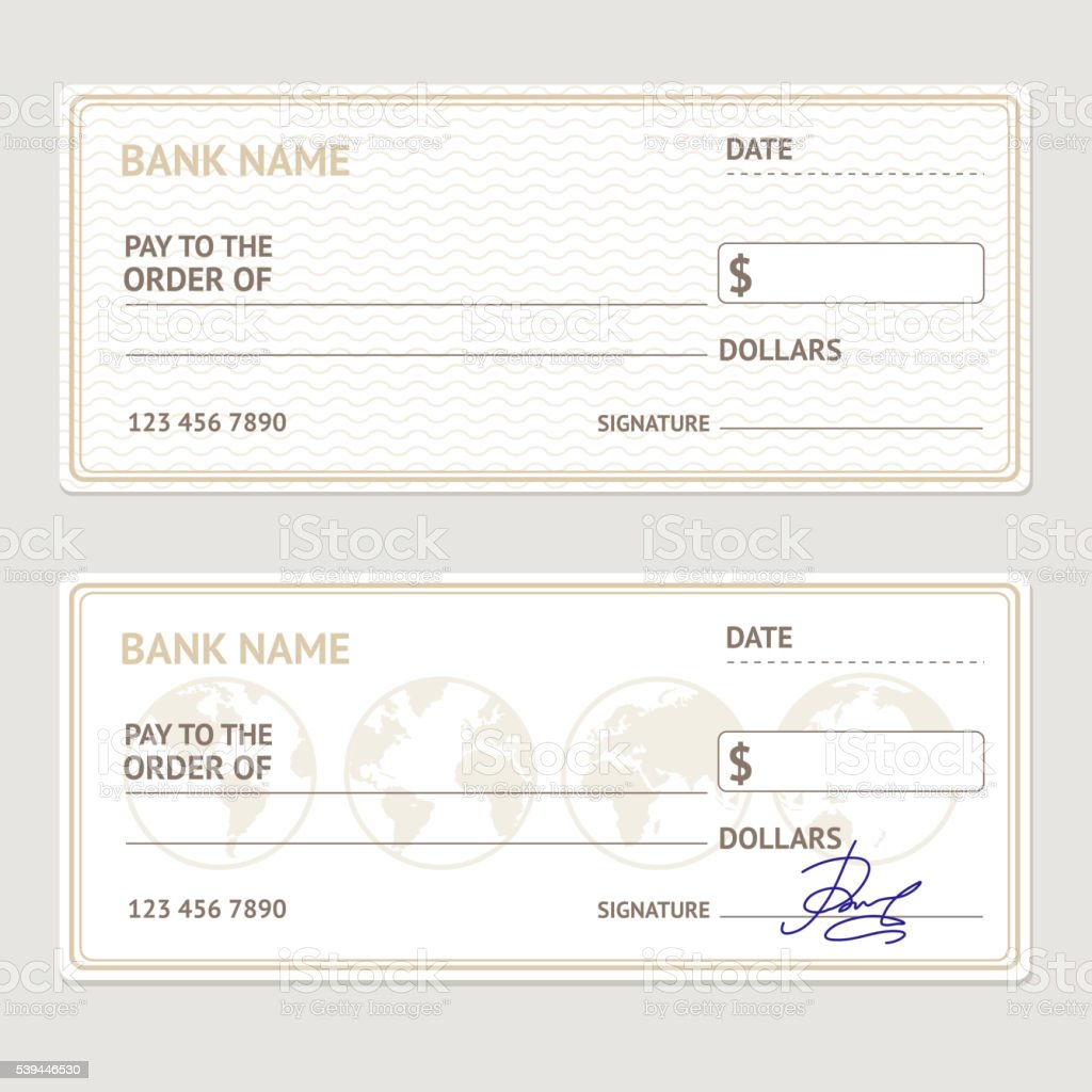 Bank Check Template Set. Vector vector art illustration