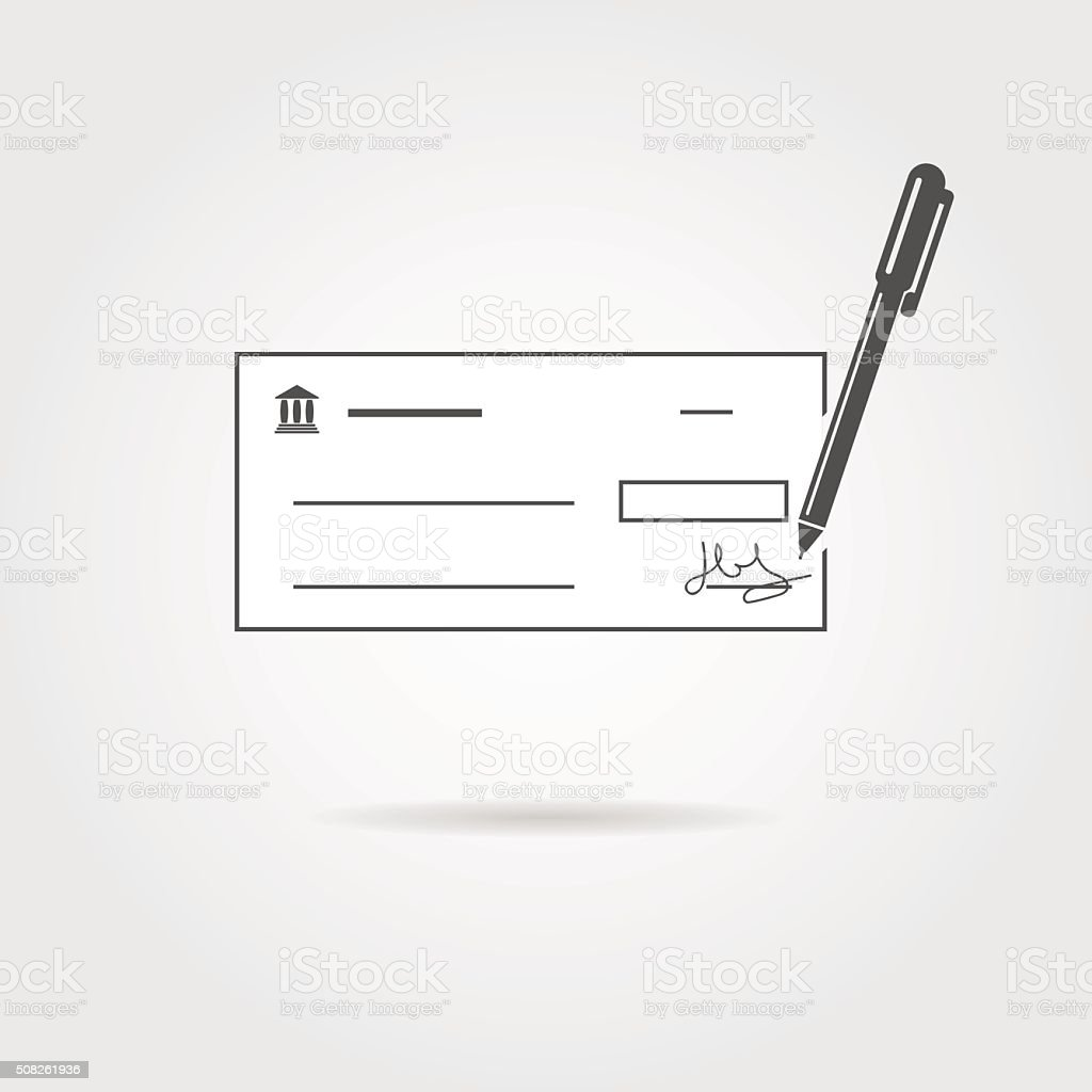 bank check with pen and shadow vector art illustration