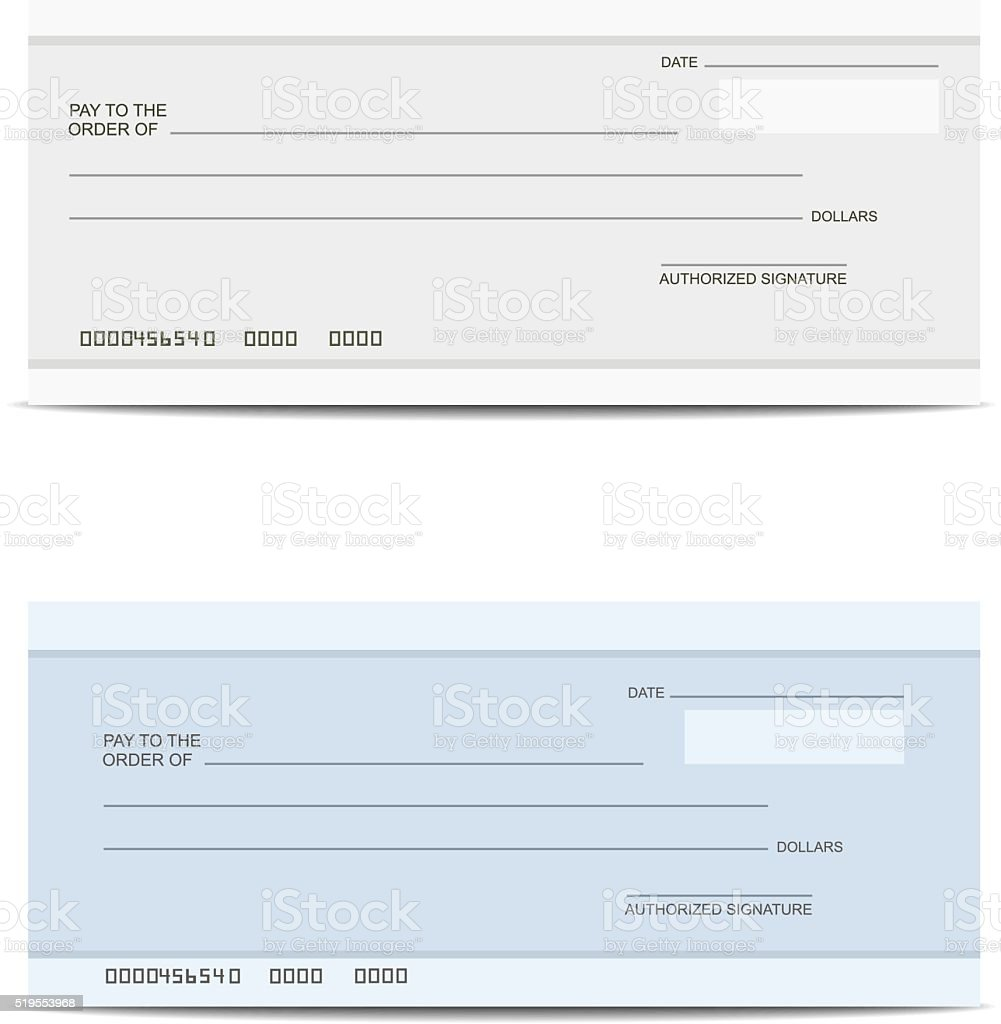 Bank cheque vector art illustration