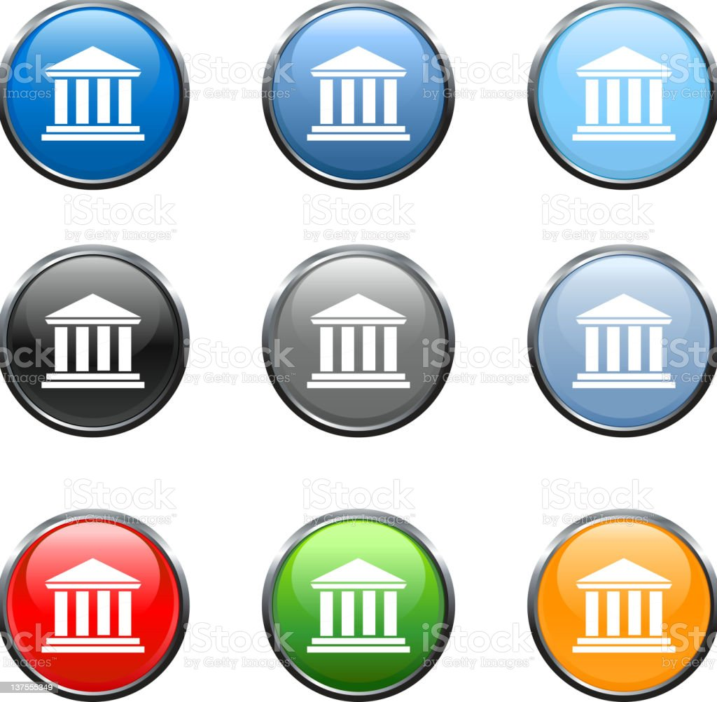 bank/court house icon in 9 colors FINAL stock photo