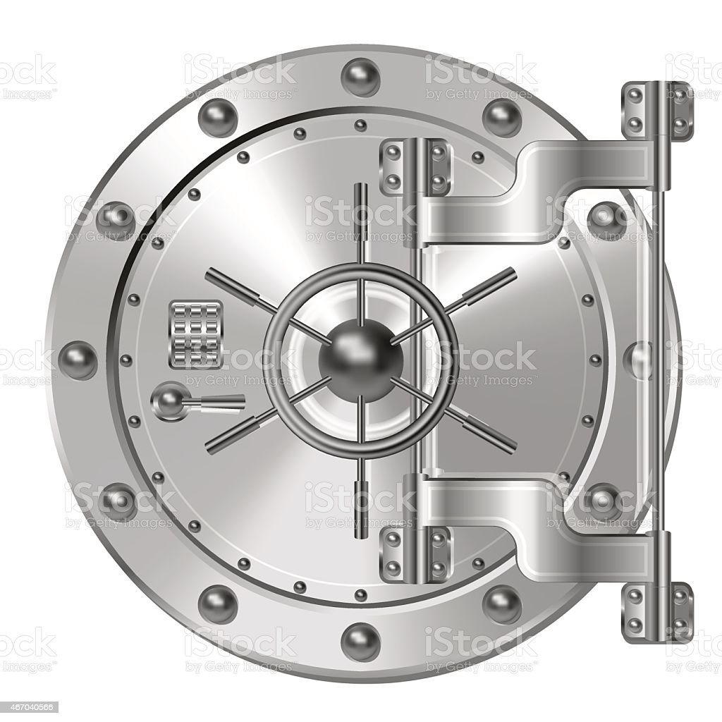 Bank doors with steel tumblers vector art illustration