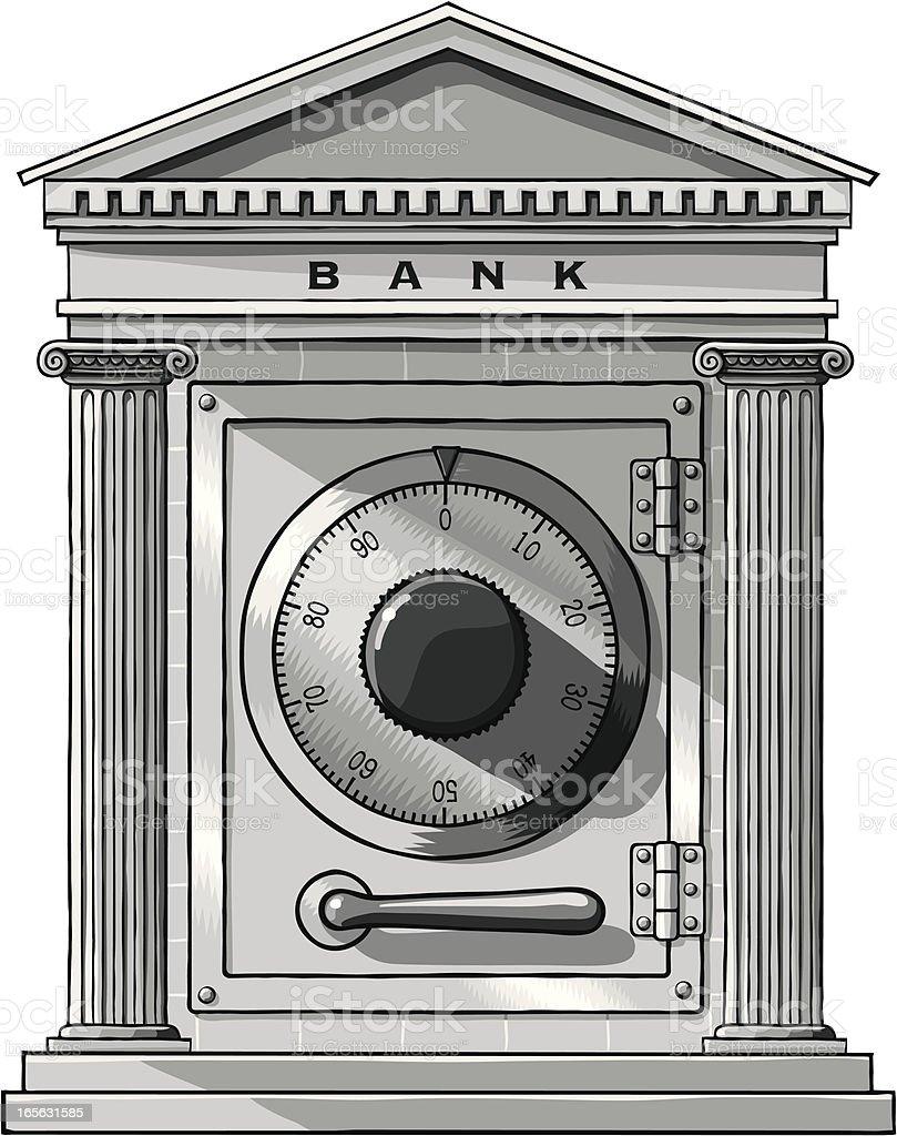 Bank facade with safe door vector art illustration
