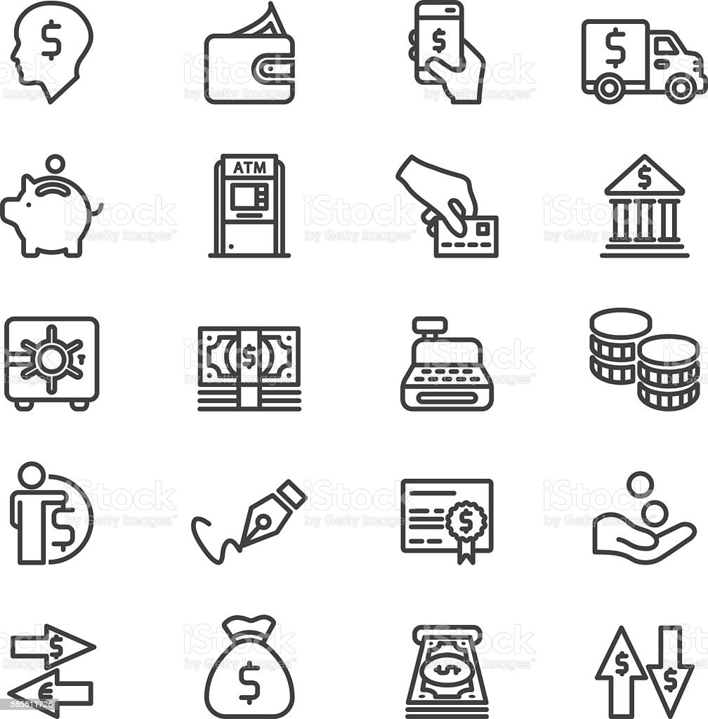 Bank Finance Money & Payment Line icons | EPS10 vector art illustration