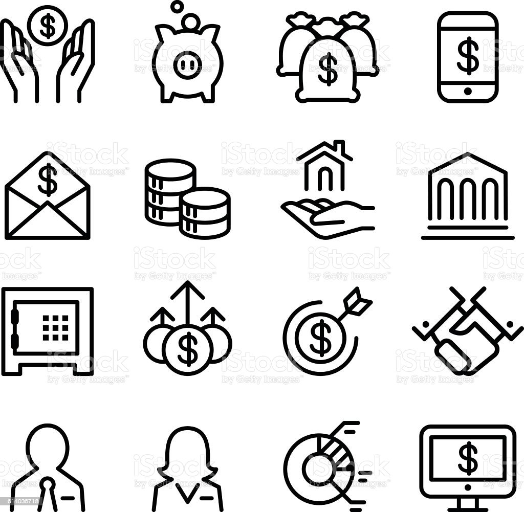 Bank & Financial icon set in thin line style vector art illustration