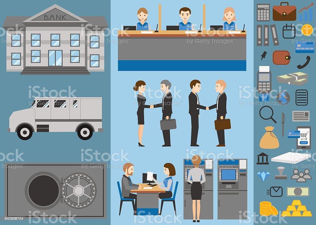 Bank flat icons set. Business people. Banking. vector art illustration