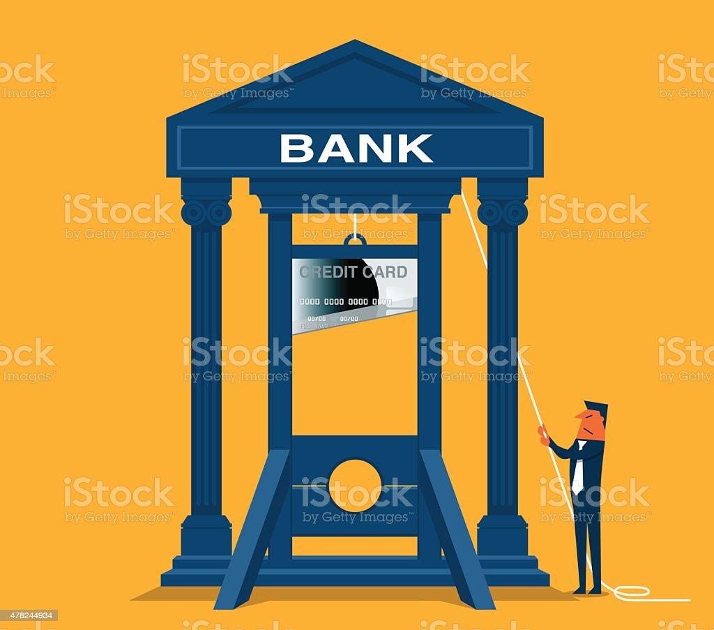 Bank guillotine vector art illustration
