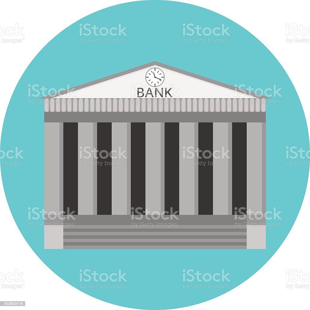 Bank icon flat design vector art illustration